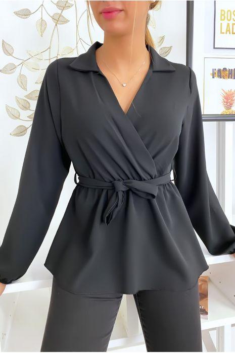 Chemisier blouse noir noué à la taille
