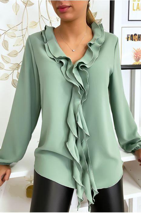 Watergroene blouse met jabotkraag