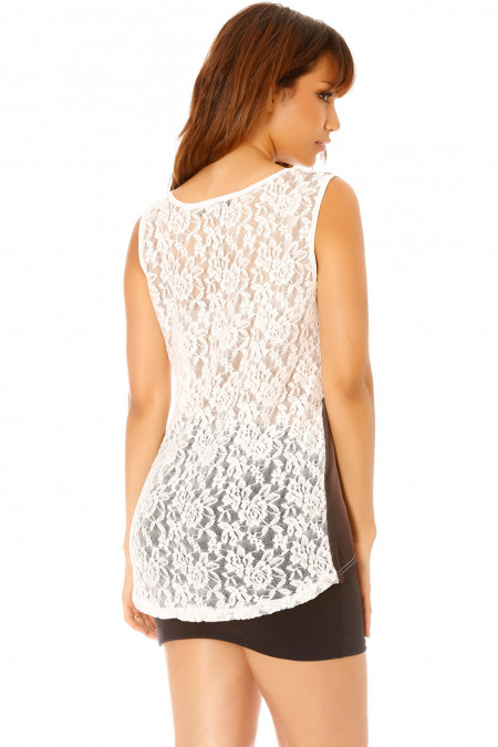 Women's white print tank top with lace on the back. MC-1745