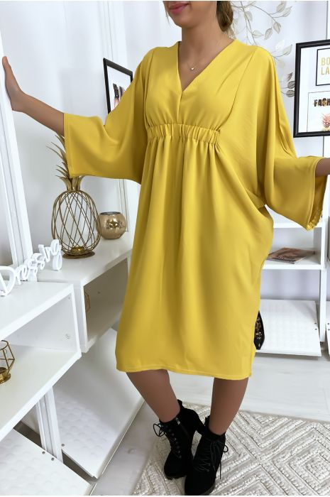 Robe classe moutarde à manches courtes
