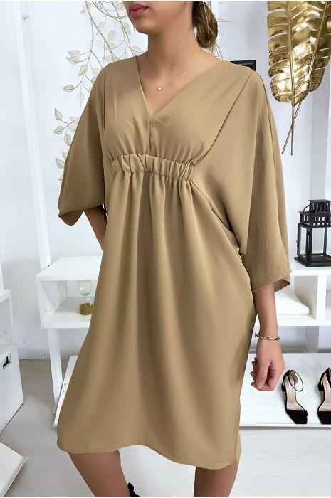 Classy camel jurk met korte mouwen