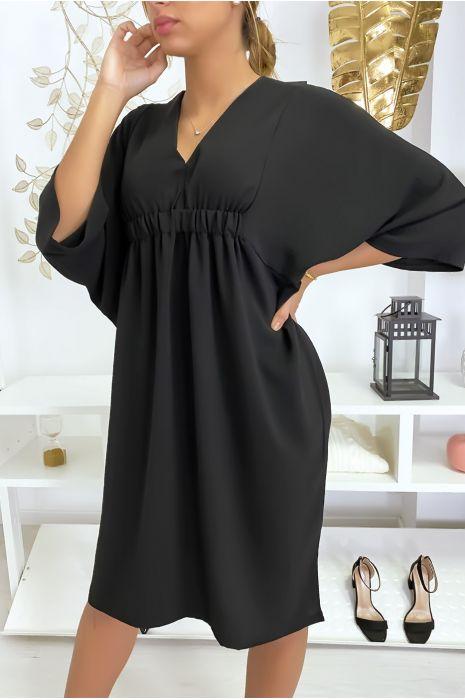 Robe classe noir à manches courtes