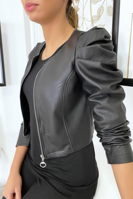 Veste noir courte en simili cuir