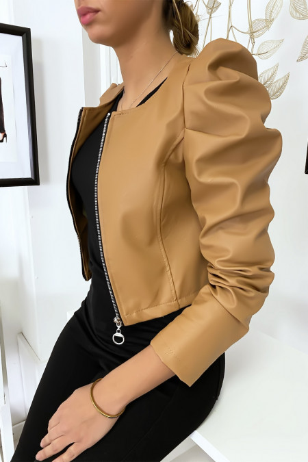 Short camel faux leather jacket