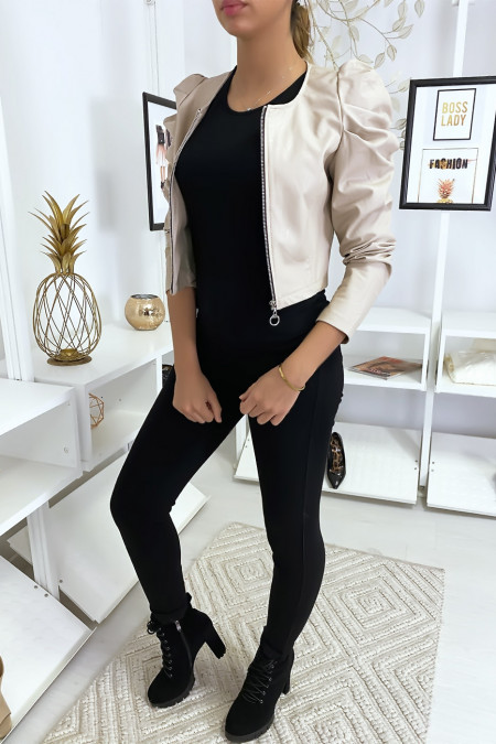 Short beige faux leather jacket