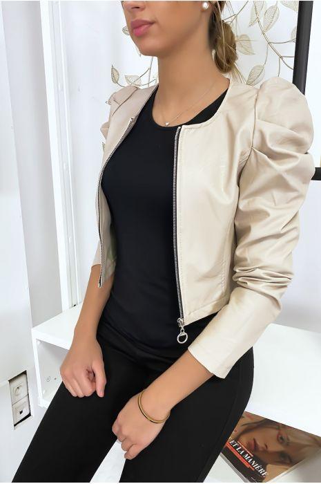 Veste beige courte en simili cuir