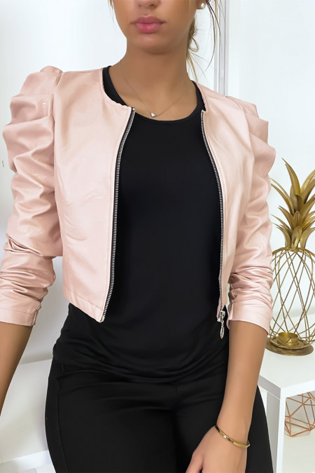 Short pink faux leather jacket