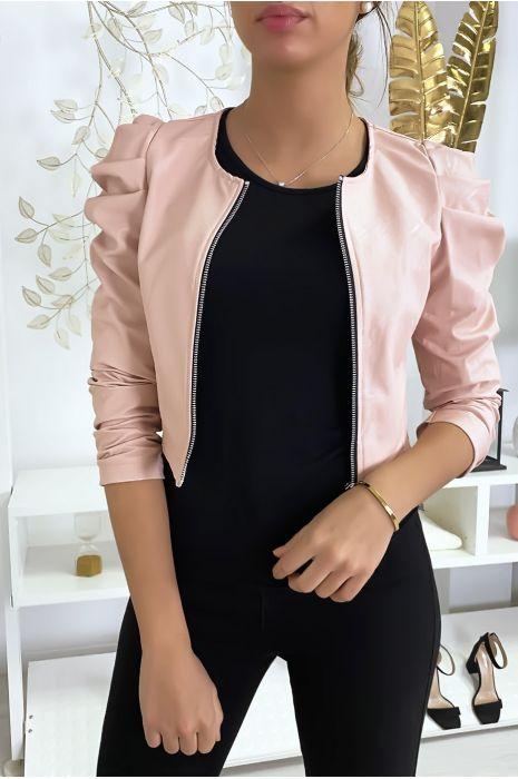 Veste rose courte en simili cuir