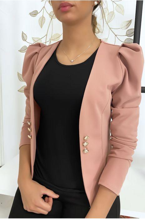 Veste rose à épaules bouffantes