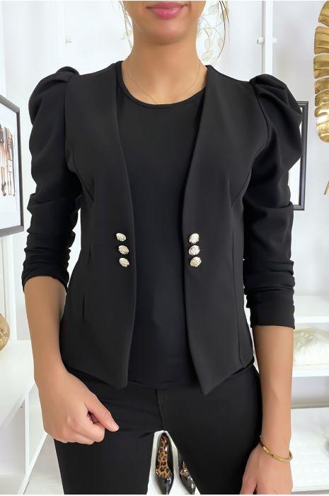 Veste noir à épaules bouffantes