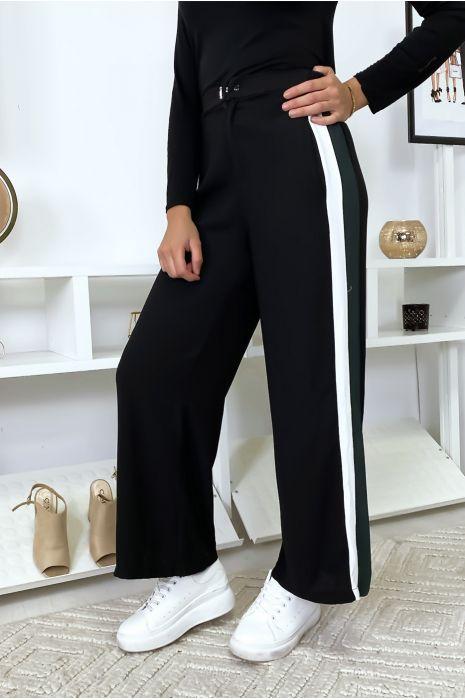 Pantalon palazzo à bandes noir/vert