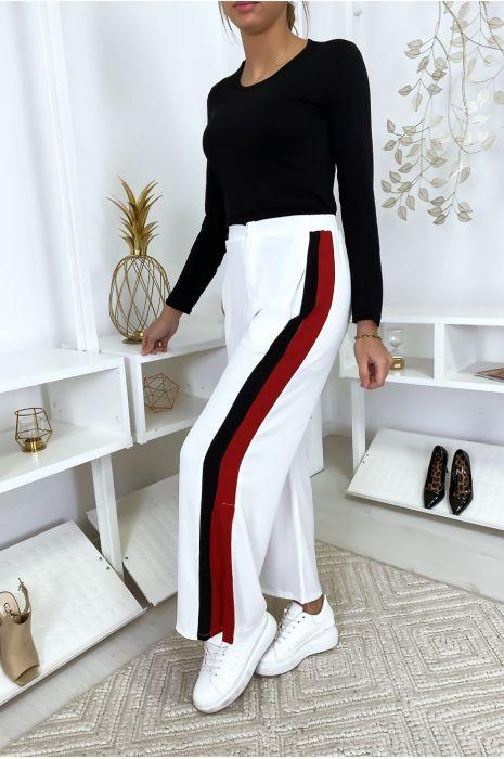 Pantalon palazzo à bandes blanc/rouge