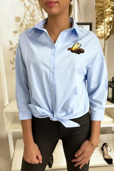 Blue bee tie shirt