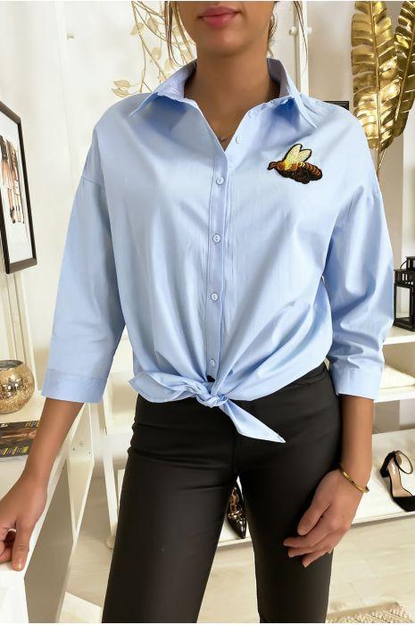 Blauw bijen overhemd met stropdas