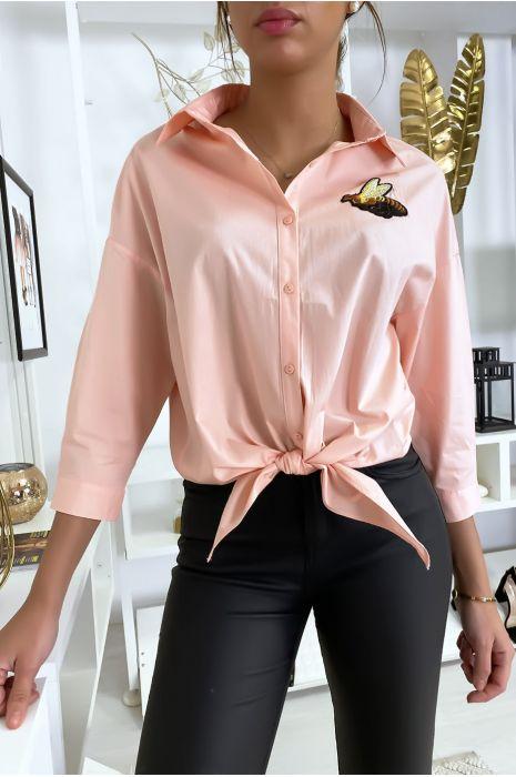 Chemise rose abeille à nouer