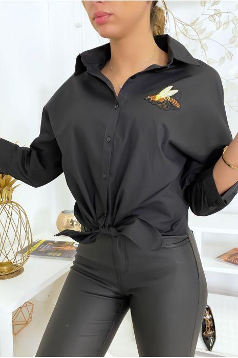 Zwart overhemd met bijenstrik