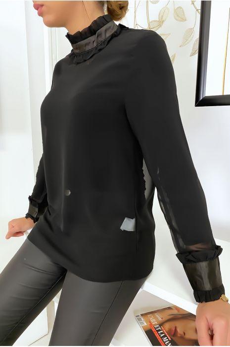 Lichtgewicht zwarte blouse met hoge kraag