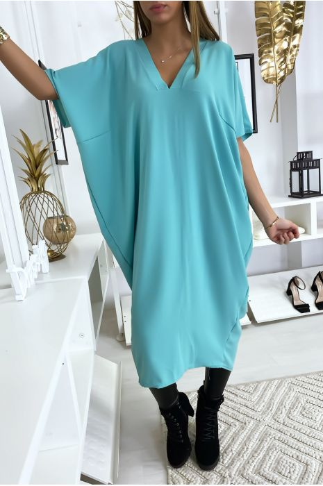Robe turquoise longue et ample