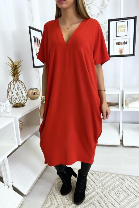 Lange losse rode jurk