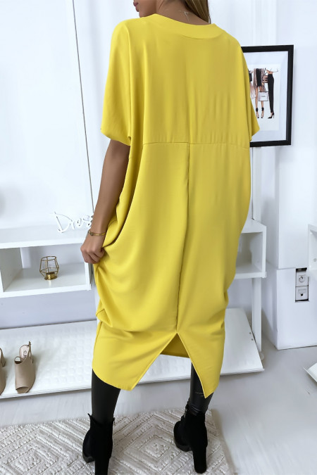 Long loose yellow dress