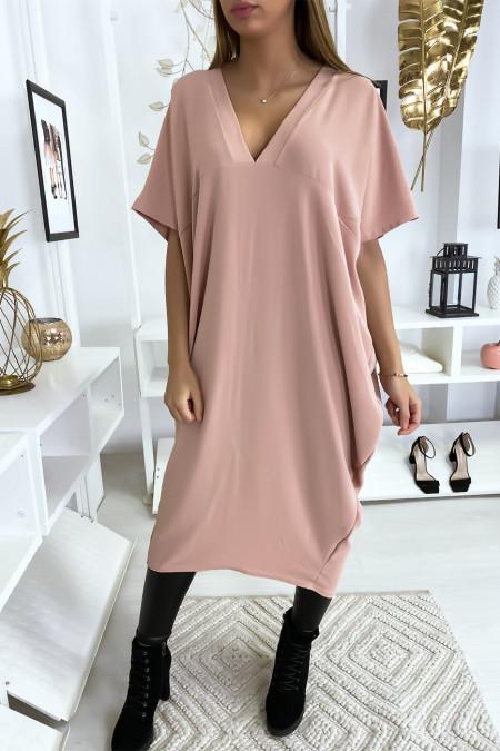 Lange losse roze jurk