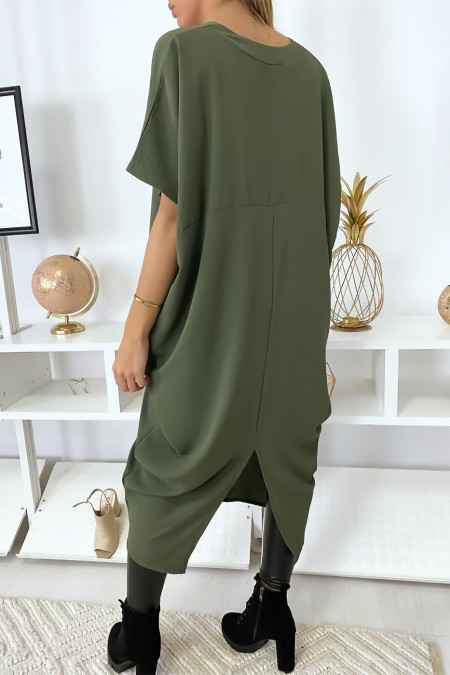 Long and loose khaki dress