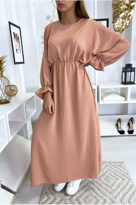 Robe femme longue rose à col rond