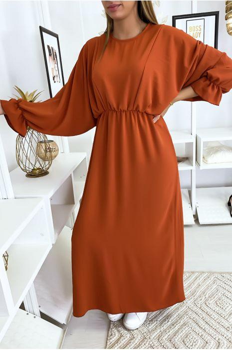 Robe femme longue cognac à col rond