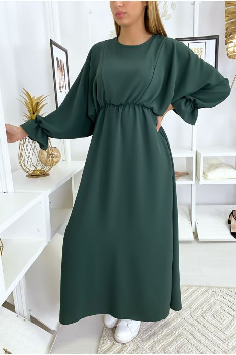 Robe femme longue verte à col rond