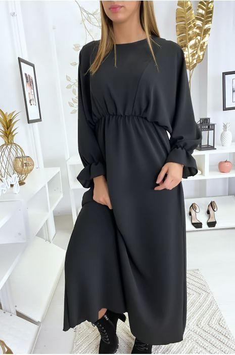 Robe femme longue noir à col rond