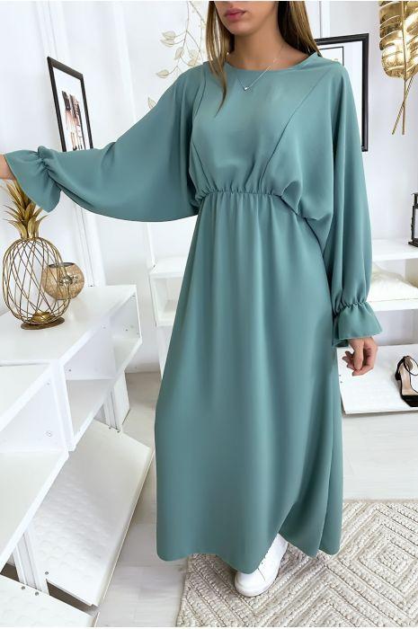 Lange turquoise jurk met ronde hals