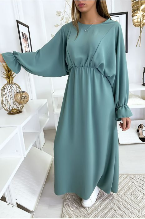 Robe femme longue turquoise à col rond