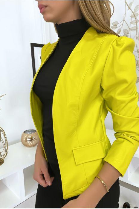 Veste jaune à épaules bouffantes simili cuir