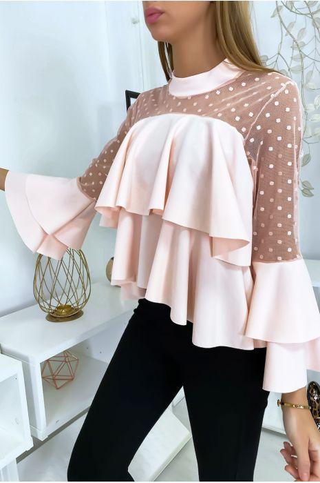 Roze top met plumetiskraag