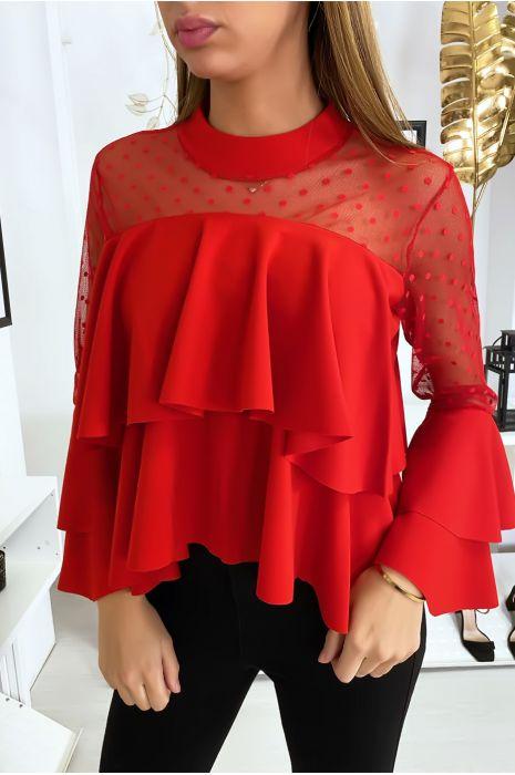 Rode top met plumetiskraag