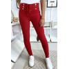 Sublime pantalon slim bordeaux avec lacet et boutons avec poches arrières. 9-234