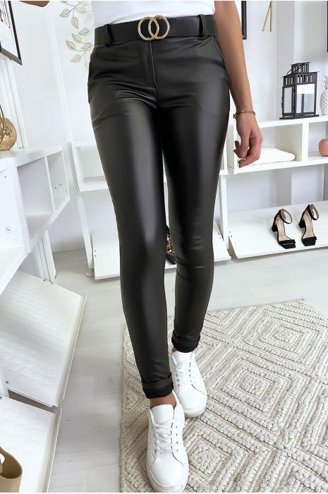 Pantalon slim noir nacré avec ceinture