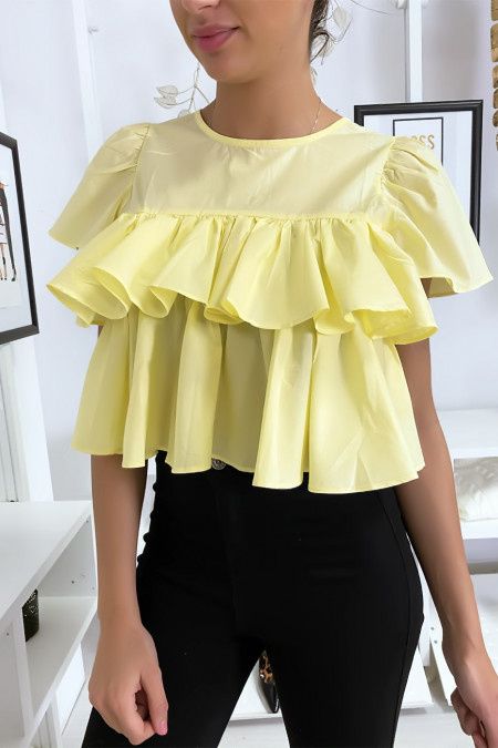 Gele crop top met ruches