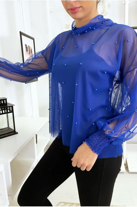 Losvallend blauw mesh topje met parels