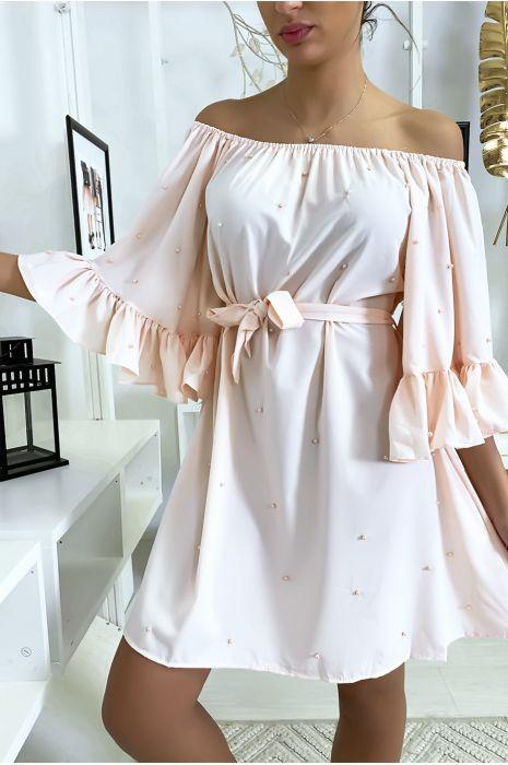 Robe bardot rose à perles