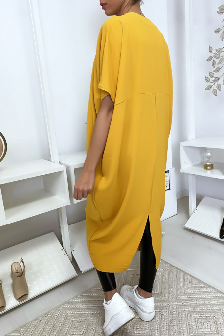 Long and loose mustard dress