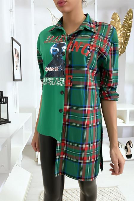 Chemise verte asymétrique à carreaux