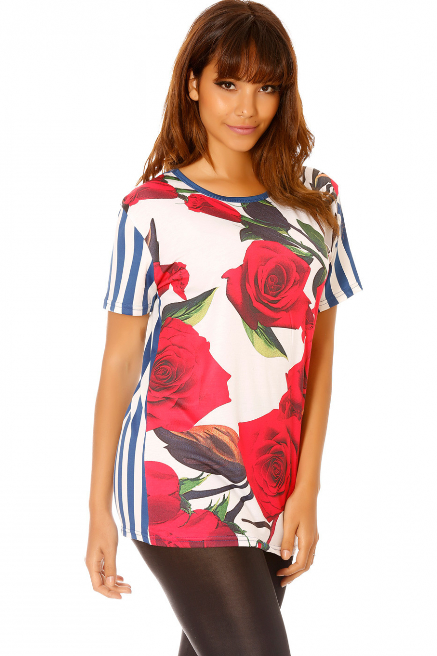 Blauw gestreept t-shirt met bloemen. MC1665