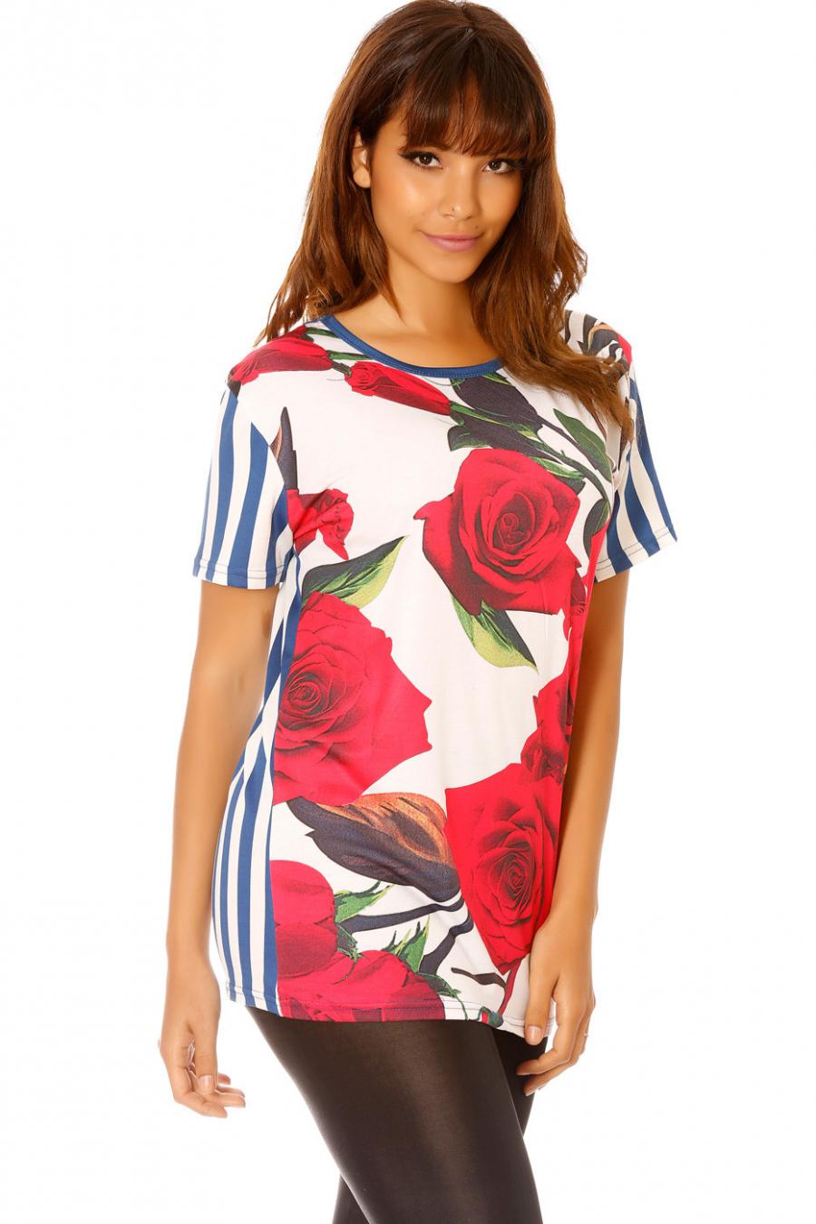 Tee-shirt rayé bleu avec fleurs. MC1665