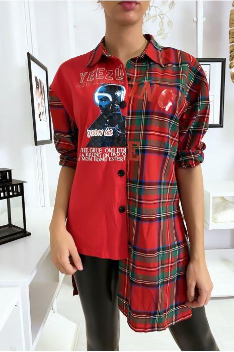 Chemise rouge asymétrique à carreaux