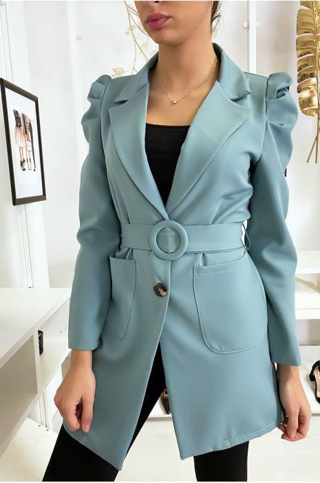Lange turquoise blazer met ceintuur