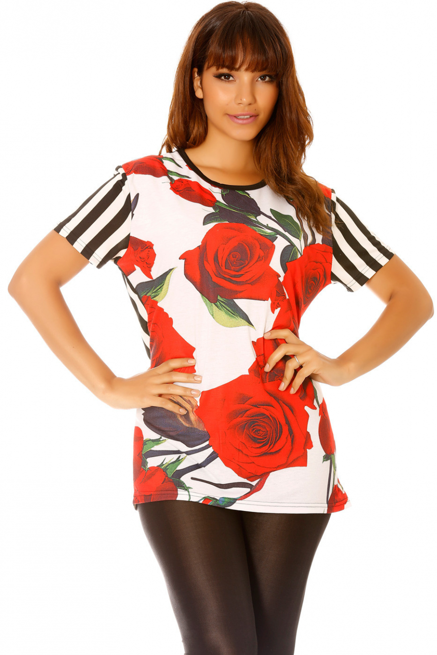 Black striped t-shirt with flowers. MC1665