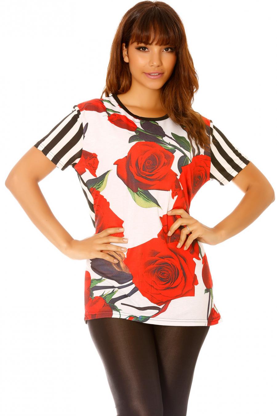 Tee-shirt rayé noir avec fleurs. MC1665