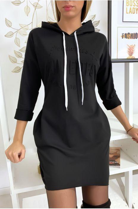 """Pull robe noir à capuche """"J'veux des paillettes dans ma vie"""""""
