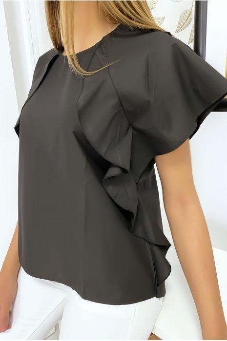 Zwarte blouse met ruche en drie knoopjes op de schouders